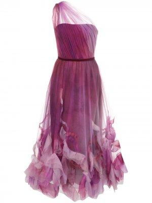 Платье миди из тюля с открытыми плечами Marchesa Notte. Цвет: фиолетовый