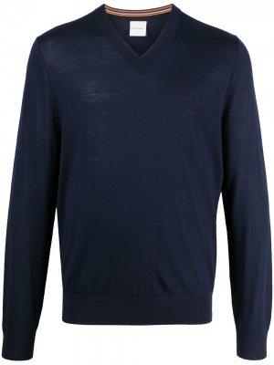 Пуловер с V-образным вырезом Paul Smith. Цвет: синий