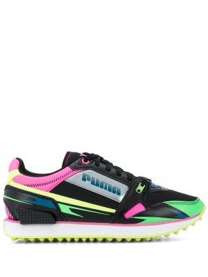 Кроссовки в стиле колор-блок на шнуровке Puma. Цвет: черный