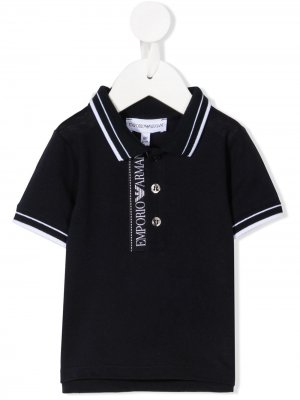 Рубашка поло с логотипом Emporio Armani Kids. Цвет: синий