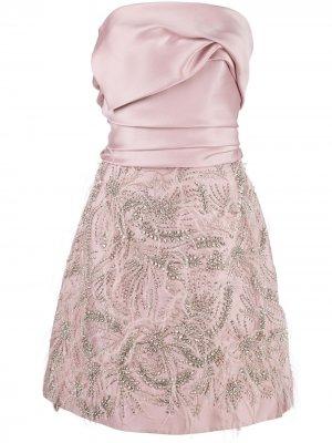 Платье без бретелей с драпировкой Marchesa. Цвет: розовый