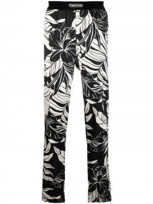 Пижамные брюки с цветочным принтом TOM FORD. Цвет: черный