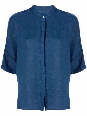 Рубашка с короткими рукавами 120% Lino. Цвет: синий
