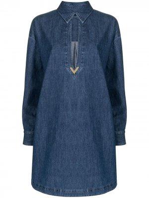 Джинсовое платье-рубашка Valentino. Цвет: синий