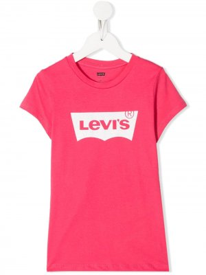 Levis Kids футболка с логотипом Levi's. Цвет: розовый