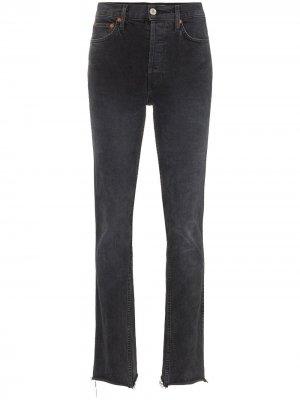 Прямые джинсы с рваными деталями RE/DONE. Цвет: черный