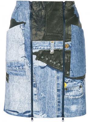 Джинсовая мини-юбка с принтом Christian Dior Vintage. Цвет: синий