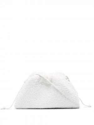 Мини-клатч Pouch из ткани букле Bottega Veneta. Цвет: белый