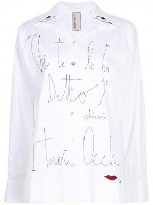 Рубашка оверсайз с принтом Antonio Marras. Цвет: белый