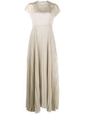 Плиссированное вечернее платье из атласа Peserico. Цвет: нейтральные цвета