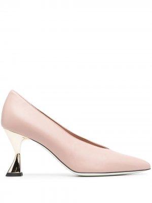 Туфли-лодочки на скульптурном каблуке Pollini. Цвет: розовый
