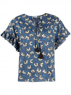 Блузка с оборками и цветочным принтом P.A.R.O.S.H.. Цвет: синий