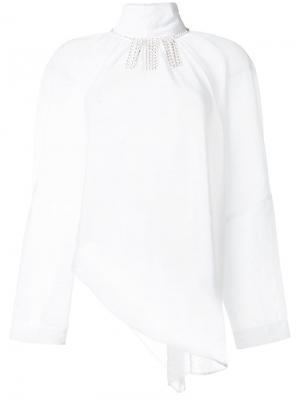 Блузка с отделкой кристаллами Christopher Kane. Цвет: белый