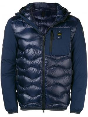 Hooded zipped padded jacket Blauer. Цвет: синий