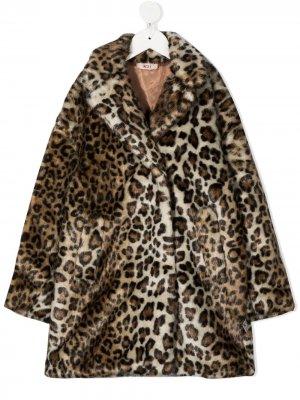 Пальто с леопардовым принтом Nº21 Kids. Цвет: нейтральные цвета