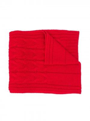 Шарф крупной вязки Moncler Enfant. Цвет: красный