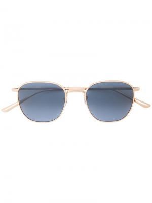 Солнцезащитные очки в круглой металлической оправе Oliver Peoples. Цвет: золотистый