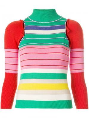 Вязаная блузка со съемными рукавами John Galliano Vintage. Цвет: разноцветный