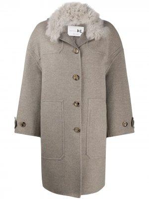 Пальто с контрастным воротником Manzoni 24. Цвет: серый