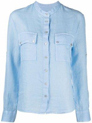 Рубашка с воротником-стойкой 120% Lino. Цвет: синий