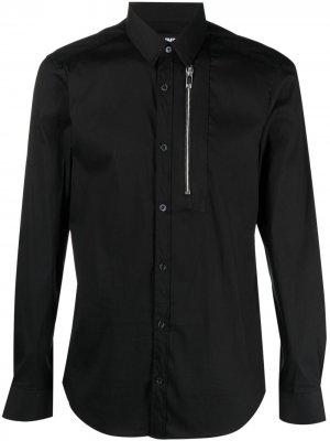 Рубашка с длинными рукавами и молнией Les Hommes. Цвет: черный