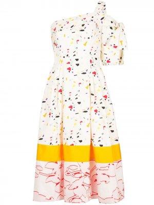 Коктейльное платье с эффектом разбрызганной краски Carolina Herrera. Цвет: белый