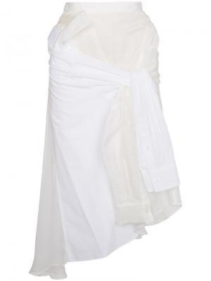 Асимметричная юбка миди с завязкой Sacai. Цвет: белый