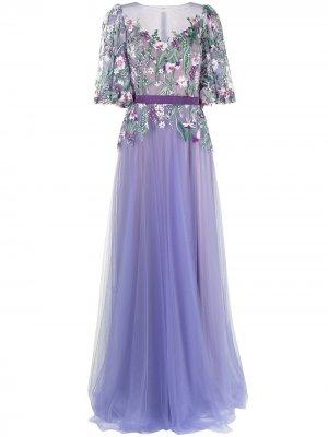 Вечернее платье с цветочной вышивкой Tadashi Shoji. Цвет: фиолетовый