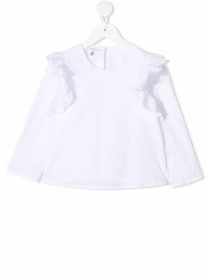 Блузка с длинными рукавами и оборками Piccola Ludo. Цвет: белый