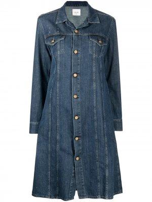 Джинсовое пальто с длинными рукавами Alysi. Цвет: синий