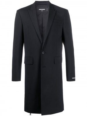Однобортное пальто строгого кроя Dsquared2. Цвет: черный