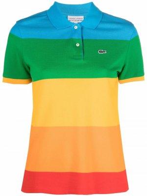 Полосатая рубашка поло с логотипом Lacoste. Цвет: красный