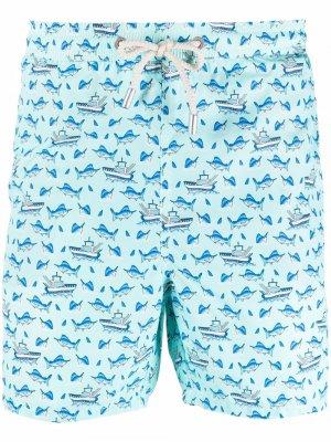 Fishing marlin-print swimming shorts Mc2 Saint Barth. Цвет: синий