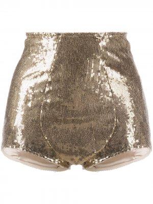 Укороченные трусы-шорты с пайетками Dolce & Gabbana. Цвет: золотистый