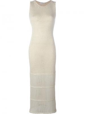 Вязаное платье макси Barbara Casasola. Цвет: белый