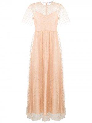 Платье из тюля в горох RED Valentino. Цвет: нейтральные цвета