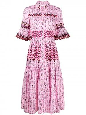 Расклешенное платье-рубашка Poet Temperley London. Цвет: белый