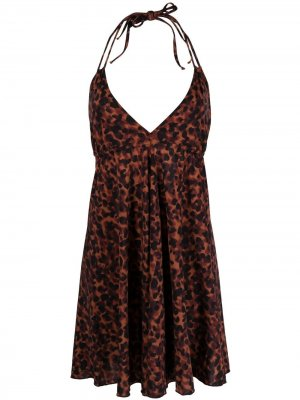 Пляжное платье с леопардовым принтом PQ Swim. Цвет: коричневый