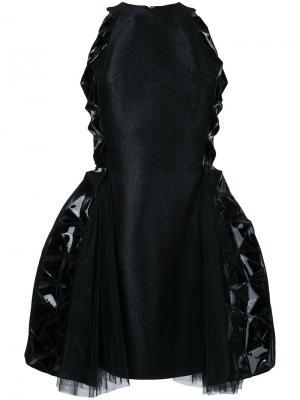 Платье с расклешенной юбкой и кожаными вставками Isabel Sanchis. Цвет: чёрный