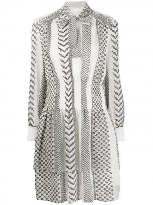 Платье-рубашка с вышивкой Lala Berlin. Цвет: белый
