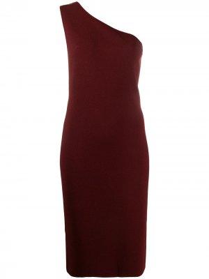 Платье миди на одно плечо Bottega Veneta. Цвет: красный