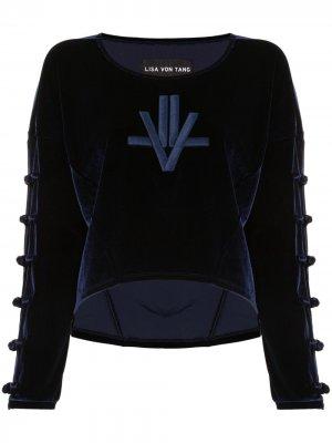 Велюровый джемпер с вышивкой Lisa Von Tang. Цвет: синий