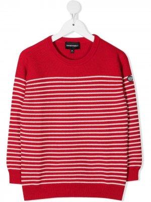 Полосатый свитер с круглым вырезом Emporio Armani. Цвет: красный