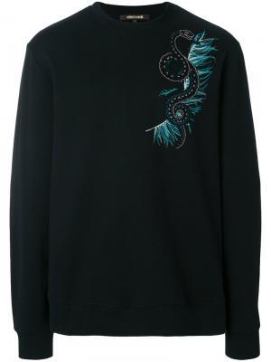 Свитшот с вышивкой Roberto Cavalli. Цвет: черный
