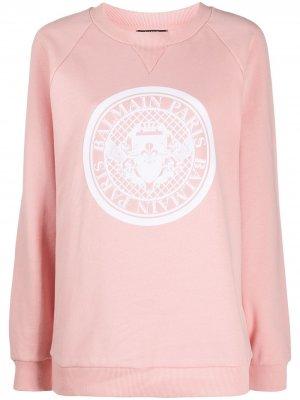 Толстовка с круглым вырезом и логотипом Balmain. Цвет: розовый