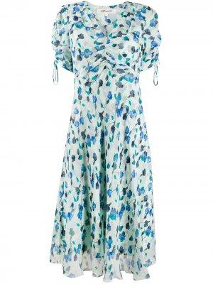 Платье Eleonora с цветочным принтом DVF Diane von Furstenberg. Цвет: синий