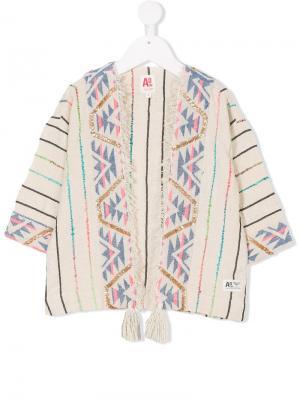 Накидка с вышивкой American Outfitters Kids. Цвет: нейтральные цвета