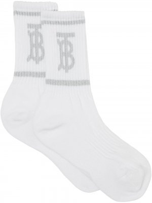 Monogram intarsia-knit socks Burberry. Цвет: белый