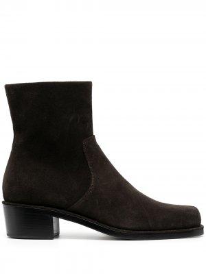 Ботинки с квадратным носком Rochas. Цвет: коричневый