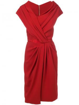 Асимметричное платье со сборкой Vionnet. Цвет: красный